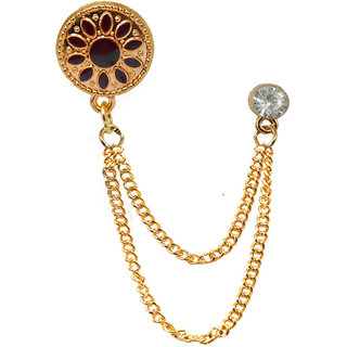 Men Style Mens Suit White Rhinestone Crystal Wedding Lapel Pin Hanging Chain Gold Red Brass Brooch