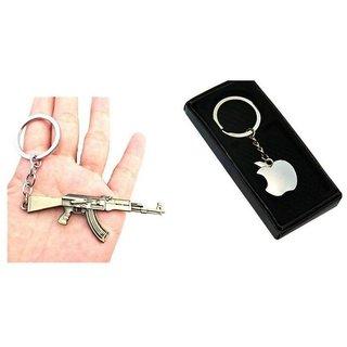 GRD Enterprises Apple Logo Keychain PUBG AK 47 Metal Keychain Key Ring