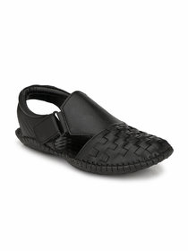El Paso Men's Black Man Made Leather Comfortable and Flexible Casual Sandals