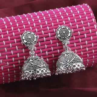 Silver Shine Glitzy Silver Push Back Jhumki Earrings
