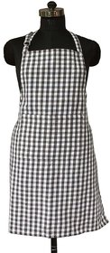 SHOP BY ROOM 100 Cotton Black Checks Apron with Front Pocket - Pack of 1 Unisex