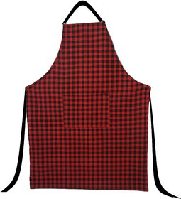 SHOP BY ROOM 100 Cotton Red and Black Checks Apron with Front Pocket - Pack of 1 Unisex