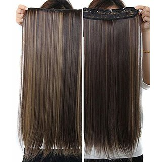 Maahal Straight Full Head Synthetic Fibre Clip In Hair Extensions 5 Clips Based 26Inch - For Women And Girls - Feel Lik