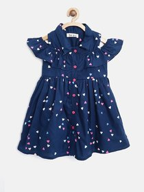 Navy Blue Designer Cotton Frock