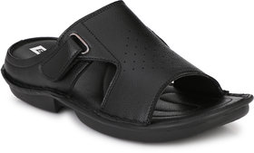BUCIK Men's Black Synthetic Leather Casual Sandals