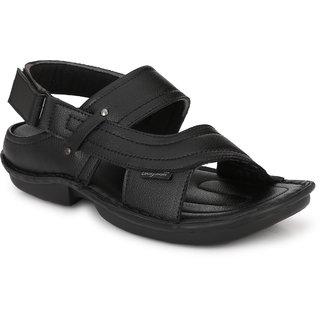 BUCIK Men's Black Synthetic Leather Casual Sandals