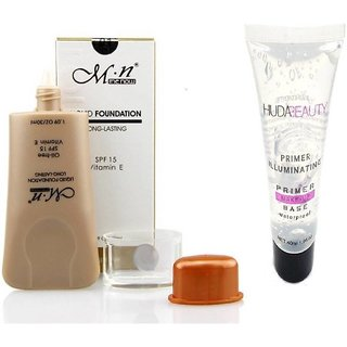 MN OIL FREE LONG LASTING FOUNDATION WITH MAKE UP BASE WATERPROOF PRIMER PACK  (Set of 2)