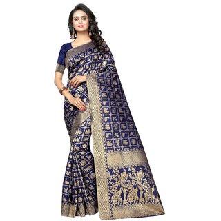 Vkaran Navy Blue Banarasi Silk Printed Saree With Blouse