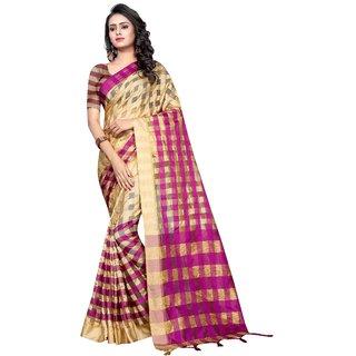 Saadhvi Beige and Pink Cotton Silk Printed Saree With Blouse