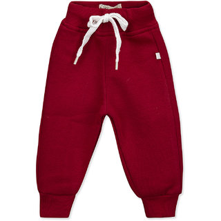 Pure Hugs Baby Boys Solid Maroon Fleece Elasticated Jogger Pants