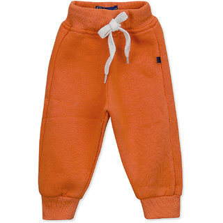 Pure Hugs Baby Boys Solid Orange Fleece Elasticated Jogger Pants