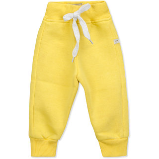 Pure Hugs Baby Boys Solid Yellow Fleece Elasticated Jogger Pants