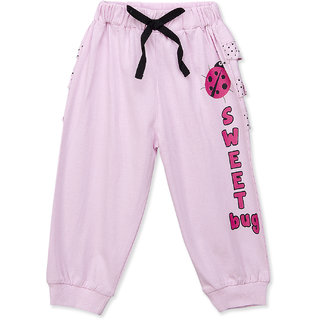 Pure Hugs Baby Girls Baby Pink Cotton Printed Jogger Pants