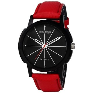 Mark Regal Round Dail Red Leather Strap Analog Watch For Mens