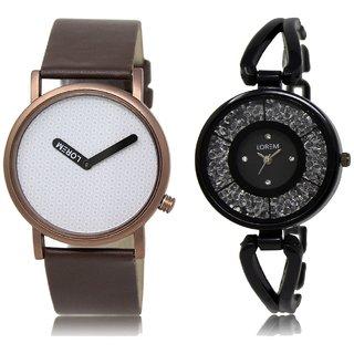 LOREM Analog  White&Black Dial Wrist watch For  Couple-LK-36-211