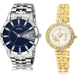 LOREM Analog  Blue&White&Gold Dial Wrist watch For  Couple-LK-102-203