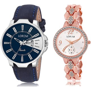 LOREM Analog  Blue&Rose Gold Dial Wrist watch For  Couple-LK-23-215