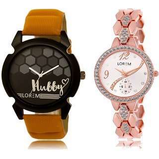 LOREM Analog  Black&Rose Gold Dial Wrist watch For  Couple-LK-32-215
