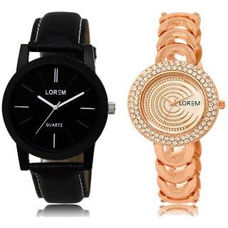 LOREM Analog  Black&Rose Gold Dial Wrist watch For  Couple-LK-05-202