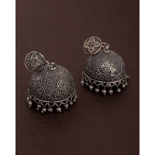 Voylla Silver Oxidized Textured Jhumki Style Earrings For Women