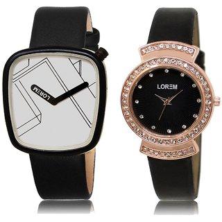 LOREM Analog  White&Black Dial Wrist watch For  Couple-LK-43-244
