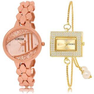 LOREM Analog  Rose Gold&Gold Dial Wrist watch For  Girls-LK--222-247