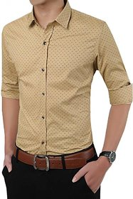 Smunk Fashion Dotted Beige Regular Fit Casual Shirt For Men