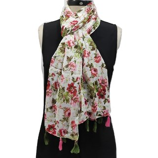 Monika Collection Soft Polyester Printed Stole With Beautiful Tassels Size 50x180 cm