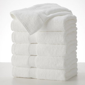 Shop By Room Terry Weave 100 Cotton Quick Dry White Hand Towel - Set of 5-12 x 20 inch - Multicolour