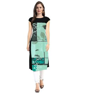 Designer Black And Teel Color American Crepe Digital Printed Full Stitched Kurti for woman and girls(OMKT19)