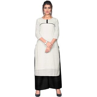 Designer Summer Special White And Black Color Cotton Chikankari Work