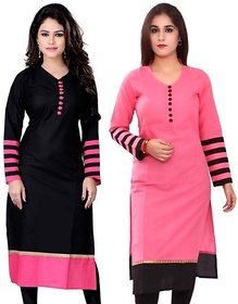 SUMMER Special Pink and black color indo cotton full stiched combo kurti for woman and girls(COMBODOT)