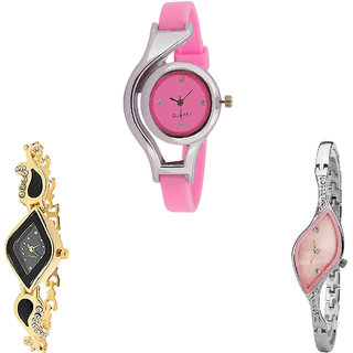 Neutron Latest Professional World Cup Analogue Pink, Gold And Silver Color Girls And Women Watch - G3-G266-G405 (Combo Of  3 )
