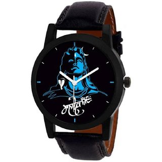 Mastani Round Dail Black Leather Strap Analog Quartz Watch For Men's