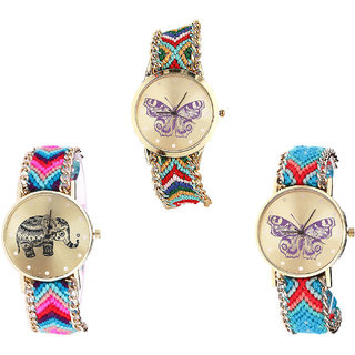Neutron Classical Professional Butterfly And Elephant Analogue Multi Color Color Girls And Women Watch - G132-G154-G136 (Combo Of  3 )
