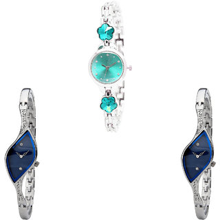 Neutron Latest Love Flower Dimond Analogue Silver Color Girls And Women Watch - G339-G353-G353 (Combo Of  3 )