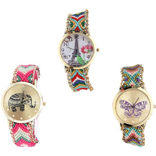 Neutron Latest Party Wedding Paris Eiffel Tower, Elephant And Butterfly Analogue Multi Color Color Girls And Women Watch - G145-G163-G133 (Combo Of  3 )