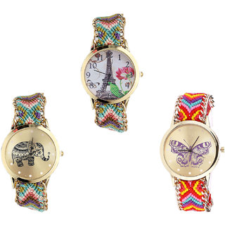 Neutron Brand New Model Paris Eiffel Tower, Elephant And Butterfly Analogue Multi Color Color Girls And Women Watch - G146-G157-G131 (Combo Of  3 )