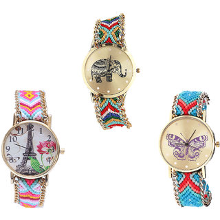 Neutron New Traditional Elephant, Paris Eiffel Tower And Butterfly Analogue Multi Color Color Girls And Women Watch - G156-G310-G136 (Combo Of  3 )