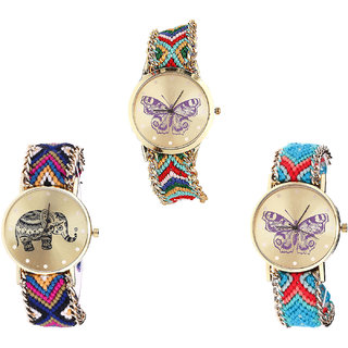 Neutron Classical Model Butterfly And Elephant Analogue Multi Color Color Girls And Women Watch - G132-G311-G136 (Combo Of  3 )