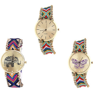 Neutron Treading Party Wedding Elephant And Butterfly Analogue Multi Color Color Girls And Women Watch - G166-G311-G132 (Combo Of  3 )