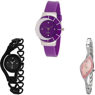 Neutron Brand New Style Chain Analogue Purple, Black And Silver Color Girls And Women Watch - G10-G68-G405 (Combo Of  3 )