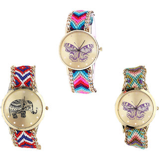 Neutron Brand New Technology Butterfly And Elephant Analogue Multi Color Color Girls And Women Watch - G130-G158-G133 (Combo Of  3 )