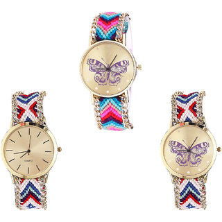 Neutron Treading Professional Butterfly Analogue Multi Color Color Girls And Women Watch - G130-G313-G135 (Combo Of  3 )