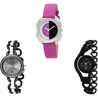 Neutron New Quartz Love Valentine And Chain Analogue Pink And Black Color Girls And Women Watch - G277-G377-G68 (Combo Of  3 )