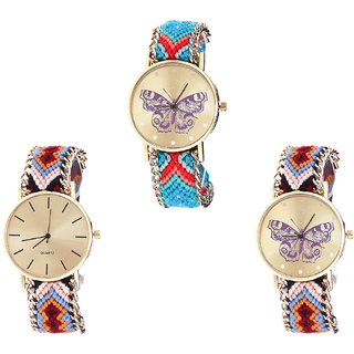 Neutron Latest Gift Butterfly Analogue Multi Color Color Girls And Women Watch - G137-G316-G138 (Combo Of  3 )