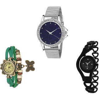Neutron Brand New Analogue Love Valentine, Butterfly And Chain Analogue Silver, Green And Black Color Girls And Women Watch - G279-G60-G68 (Combo Of  3 )