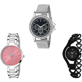 Neutron Brand New Formal Chain Analogue Silver And Black Color Girls And Women Watch - G281-G301-G68 (Combo Of  3 )