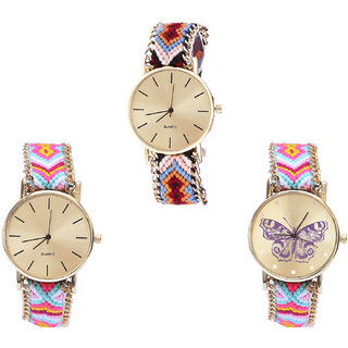 Neutron Brand New Professional Butterfly Analogue Multi Color Color Girls And Women Watch - G316-G319-G142 (Combo Of  3 )