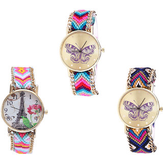Neutron Best Branded Butterfly And Paris Eiffel Tower Analogue Multi Color Color Girls And Women Watch - G130-G310-G140 (Combo Of  3 )
